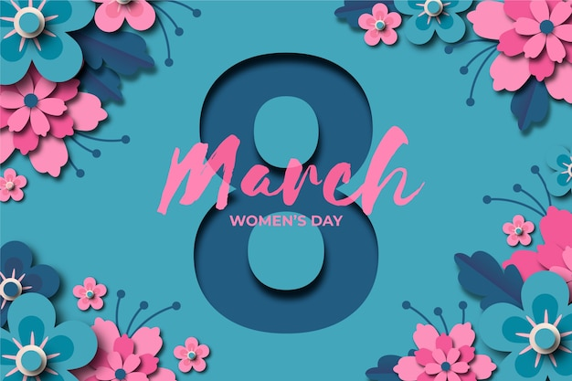 Women's day in paper style with date