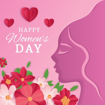 Women's day in paper style with hearts and flowers Free Vector