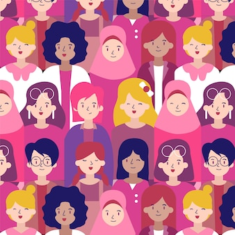 Women's day pattern with diverse women faces