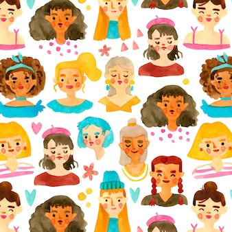Women's day pattern with women faces