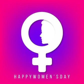 Happy womens giorno con le donne segno e faccia