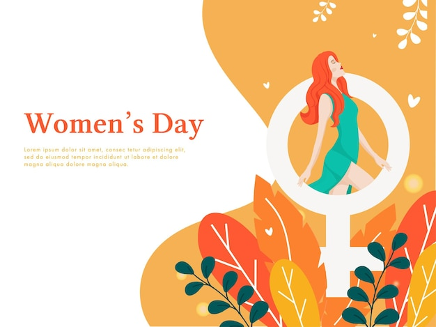 Women's day poster design with modern young girl