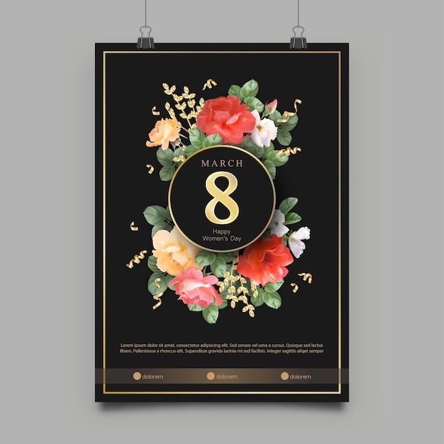Women's day poster template. gold frame and beautiful roses on a black background