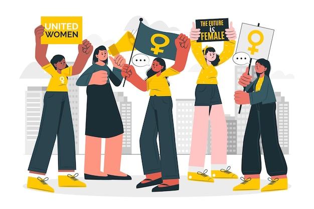 여성의 날 항의 개념 그림