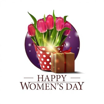 Women's day round banner with bucket with tulips and gift