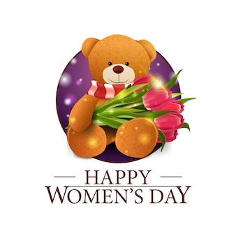 Women's day round banner with teddy bear