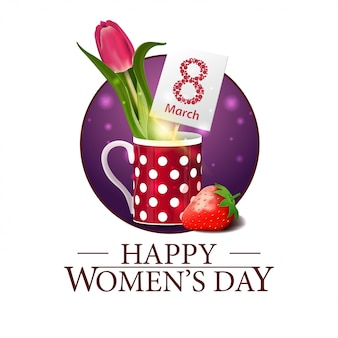 Women's day round banner with tulip in a mug