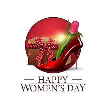 Women's day round banner with women's shoe