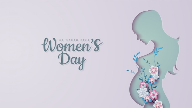 Women's day  s of pregnant women shapes with colorful flowers.