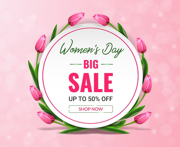 Women's day sale banner with tulips around circle on pink bokeh