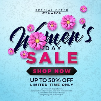 Women's day sale design with flower on blue background