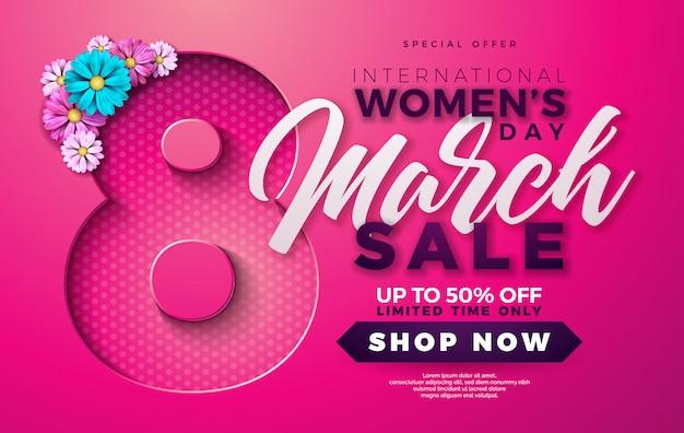 분홍색 배경에 꽃과 함께 여성의 날 판매 디자인