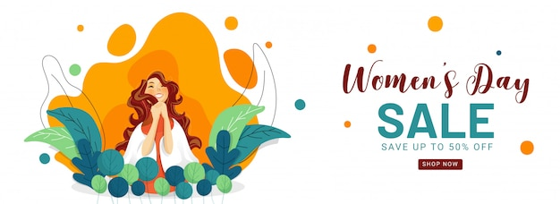 Women's day sale header or banner design with 50% discount offer and cheerful young girl on nature abstract background.