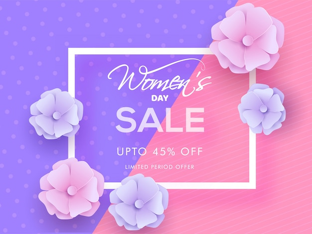 Women's day sale poster design with 45% discount offer and flowers decorated on purple and pink abstract background.