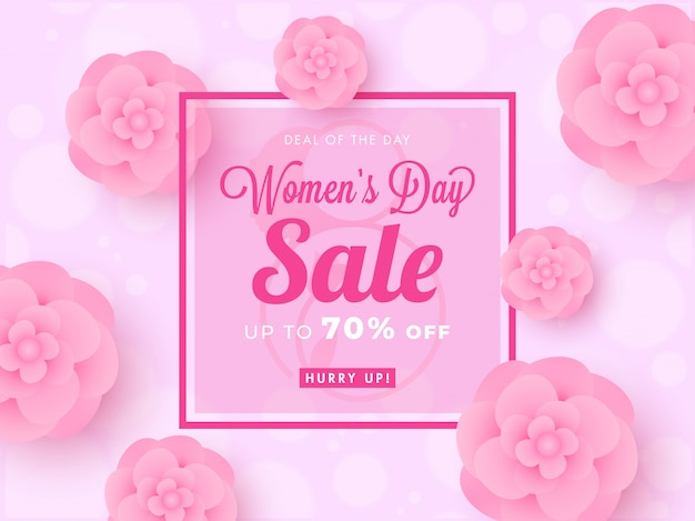 Women's day sale poster design with 70% discount offer and paper cut flowers decorated on pink bokeh background.