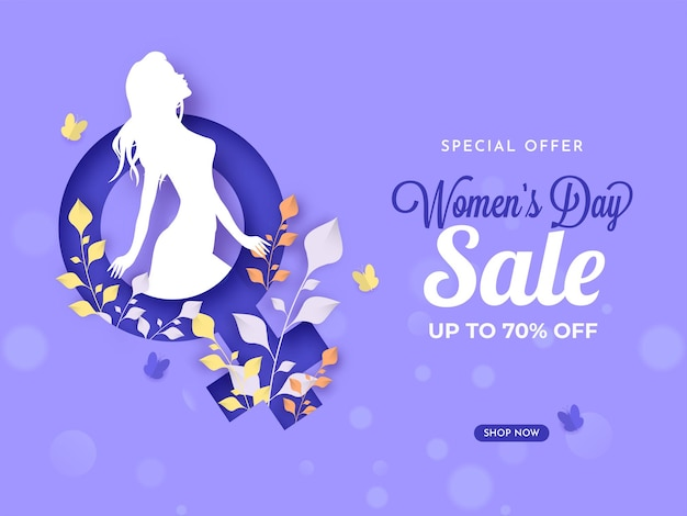 Women's day sale poster design with 70% discount offer