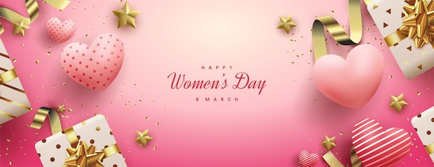 Women's day sale with 3d gift boxes and love balloons.