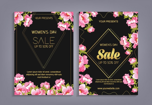 Women's day sale with flower pattern background