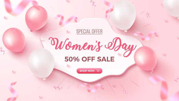 Women's day special offer. 50% off sale banner   with white custom shape, pink and white air balloons, falling foil confetti on rosy  . women's day template.
