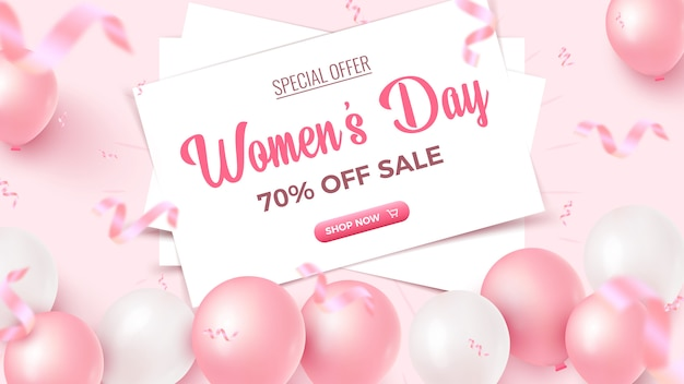 Women's day special offer. 70% off sale banner design with white sheets, pink and white air balloons, falling foil confetti on rosy background. women's day template.