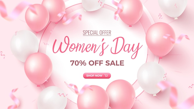 Women's day special offer. 70% off sale banner   with white frame, pink and white air balloons, falling foil confetti on rosy  . women's day template.