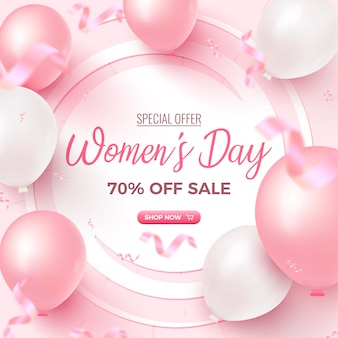 Women's day special offer. 70% off sale card design with white frame, pink and white air balloons, falling foil confetti on rosy background. women's day template.