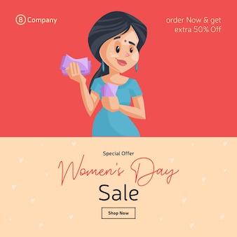 Женский день специальное предложение продажа дизайн баннера с девушкой, считающей деньги
