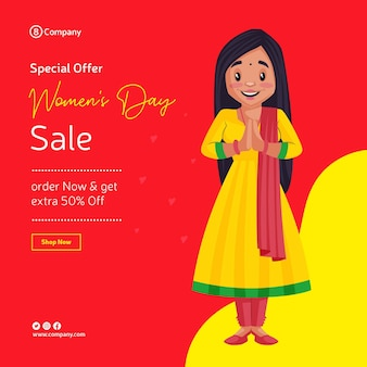 Women's day special offer sale banner design with girl with greet hands