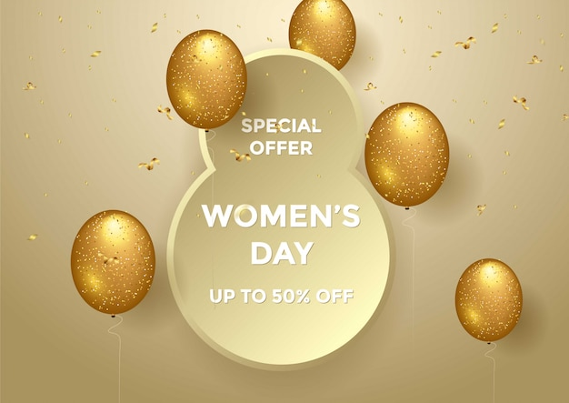 Women's day special offer sale banner vector illustration