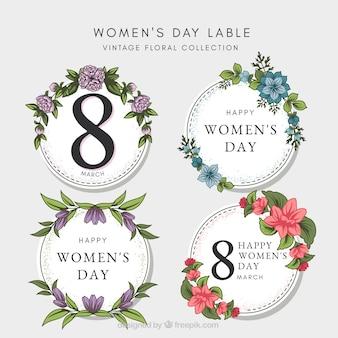 Women's day vintage labels