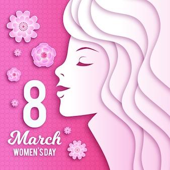 Women's day wallpaper in paper style