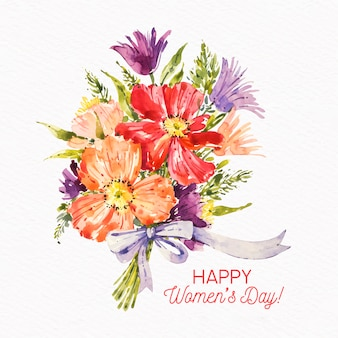 Women's day watercolor bouquet of flowers