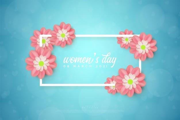 Женские салфетки в прямоугольной оправе и цветы.