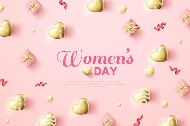 3d 선물 상자 그림과 골드 사랑 풍선과 함께 여성의 날.