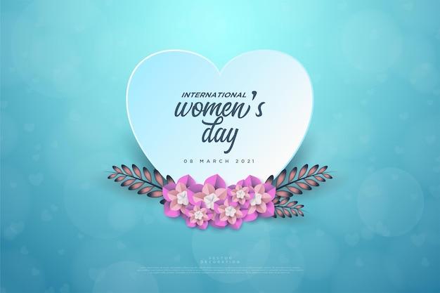 Женский день с тарелкой любви и листьями.