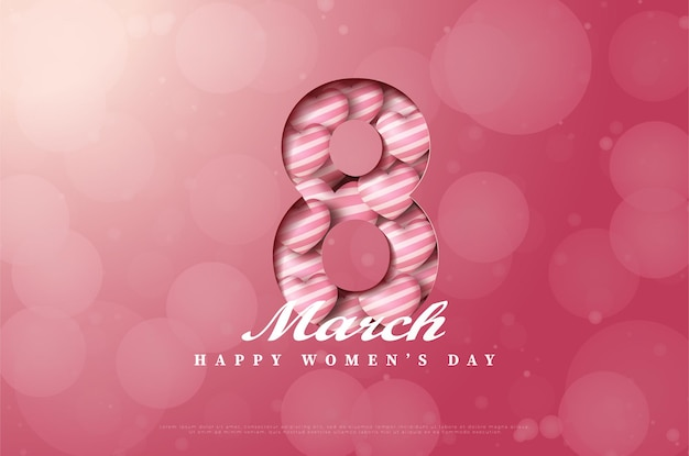 Женский день с отрезанной иллюстрацией фигуры и наполненным воздушными шарами любви.