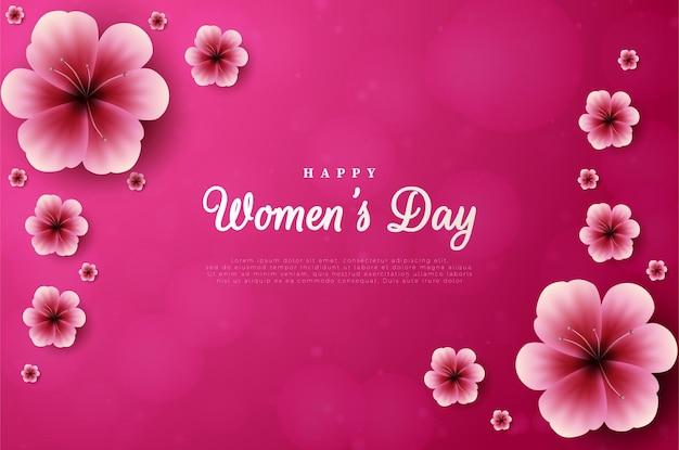 Женский день с цветами в углах.