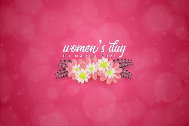 Женский день с цветами под надписью.
