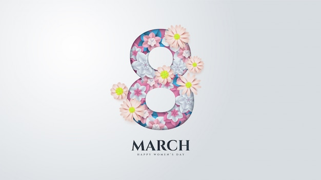 Women's day with illustration number 8 with flowers.