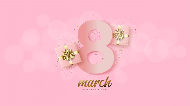Women's day with illustration numbers 8 pink with a 3d gift box.