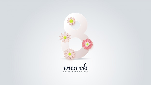 Women's day with illustration numbers 8 in white with colorful flowers.