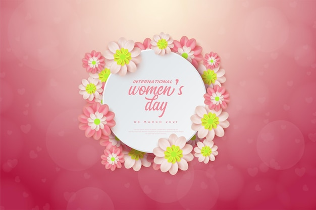Women's day with illustrations of colorful flowers and circle plates.