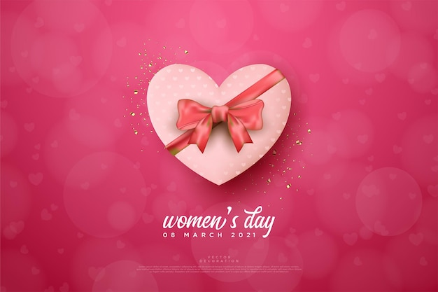 Women's day with a  love shaped gift box.