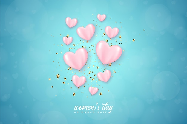 Women's day with pink love balloons on blue background.