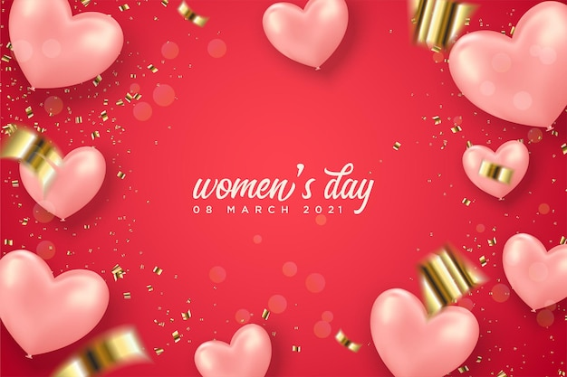 Women's day with pink love balloons and gold splash on red background.