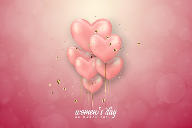 Женский день с розовыми воздушными шарами любви.