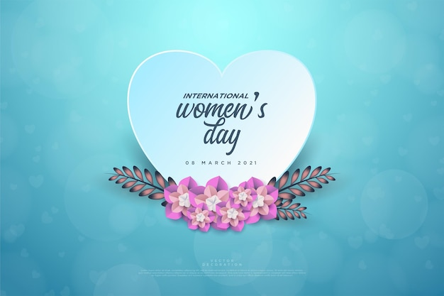 Women's day with a plate of love and leaves.