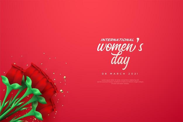 Женский день с красными розами.