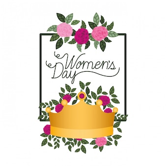 Women's day with roses frame isolated icon