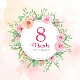 Women's day with watercolor flowers background
